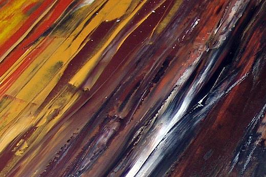 Von Schwarz über Erdtöne bis ins Gelb mit Stahleinschlüssen. Schwarz ist oben und gelb ist unten - also kein Sonnenuntergang :-) . Jeder kann seiner Fantasie freien Lauf lassen und das Bild anders interpretieren.