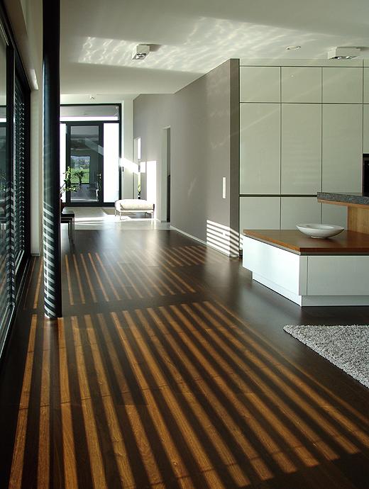 Links an der Küche vorbei gelangt man vom Küchen-Wohn-Essbereich in den Vorraum und zum Vordereingang und Büro-Haupteingang. Die Sonne spielt sich mit den Raffstore und zaubert ein angenehmes Streifenmuster auf das geräucherte Eichenparkett