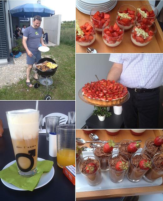 Geschlemmt wurde bei Schokomousse, Erdbeer-Holunder-Panna cotta und Erdbeertarte