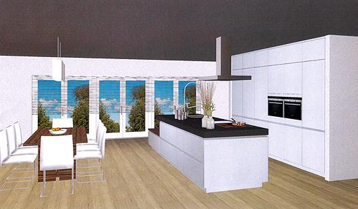 Der Küchenplaner hat uns die Küche vom Hersteller Snaidero grafisch dargestellt. Die Fenster sehen zwar anders aus, aber hier gehts ja um die Küche.
