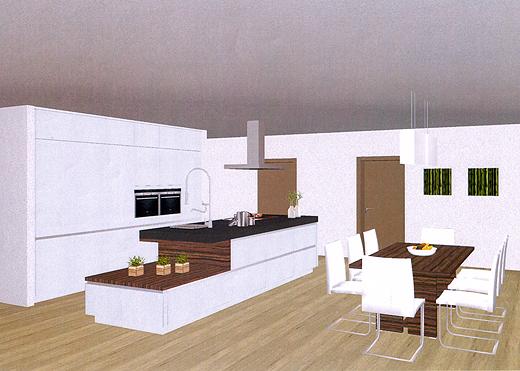 Der rückwärtige Küchenbereich zieht sich bis zur Decke. Der weiße Küchenblock mit dunkler Granitarbeitsfläche beinhaltet Teppan Yaki Grillfläche, Induktionskochfeld und Spüle.
